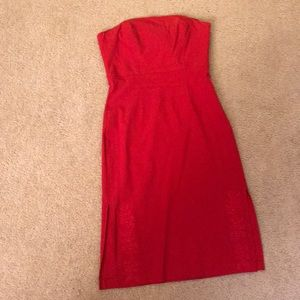 Red hot fitted sweetheart strapless dress size 8